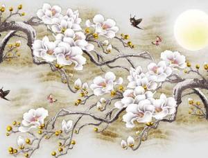 Tapet mural pictură cu pomi înfloriţi şi păsări - 13287