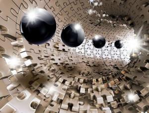 Tapet mural futurist cu forme sci-fi - 10233