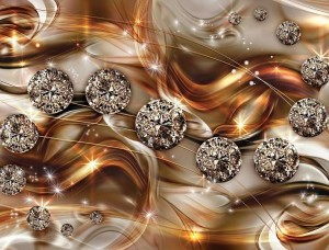 Tapet auriu cu elemente artistice strălucitoare - 10576