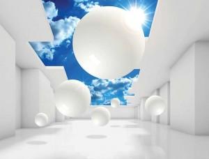 Tapet mural pentru camera de zi, forme albe şi cer albastru- 11852