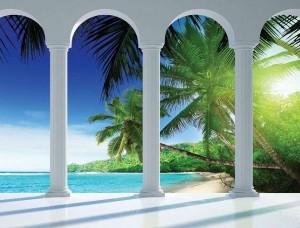 Tapet mural balcon spre o plajă nisipoasă - 2356