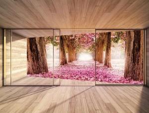 Fototapet 3D copaci înfloriţi văzuţi de pe terasă - 3298