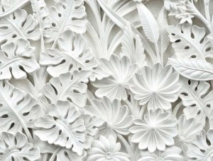 Fototapet 3D cu frunze de palmier Gypsum - 10052