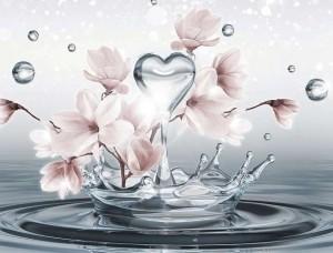 Tapet mural cu o picătură de apă în formă de inimă şi flori -10163