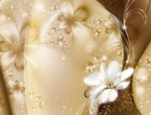 Tapet mural artă strălucitoare cu flori delicate - 3331