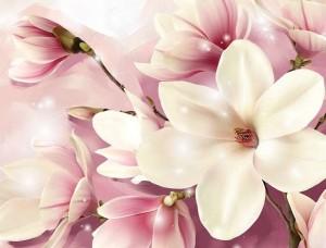 Fototapet floral cu accente roz - 3505