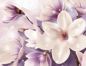 Fototapet floral cu accente violet - 3506