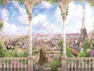 Tapet mural pentru terasă, primăvara la Paris - 11417