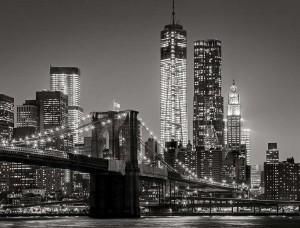 Fototapet oraş în noapte în alb şi negru - 13032