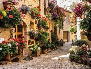 Fototapet stradă cu flori într-un oraş mediteranean - 1339