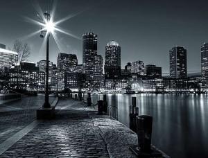 Oraş în noapte, tapet în alb şi negru - 275