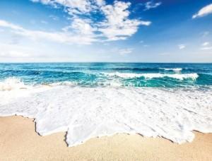 Tapet pentru camera de zi, valuri înspumate pe plajă - 10218