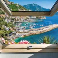 Tapet relaxant, chei pentru yachturi văzut de la fereastră - 10389