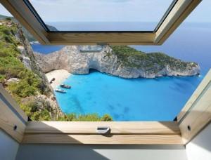 Tapet fereastră cu vedere la un peisaj tropical - 10393