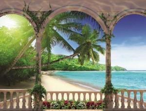 Tapet mural vedere de pe terasă spre o plajă însorită - 1078