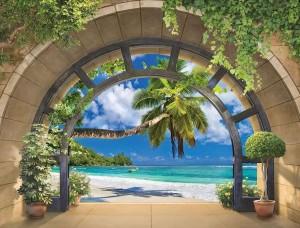 Tapet mural curbat, plajă tropicală - 11554