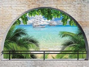 Fototapet vedere spre plajă de pe o terasă arcuită - 2842