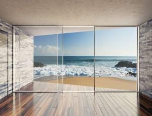 Tapet mural terasă pe plaja la ocean - 3603