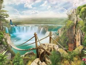 Tapet mural pictat, cascade şi peisaj - 10515