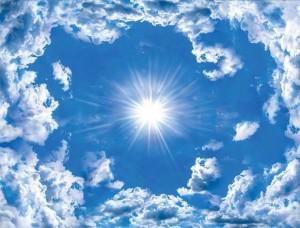 Tapet mural cu cer albastru, nori albi şi soarele - 2305