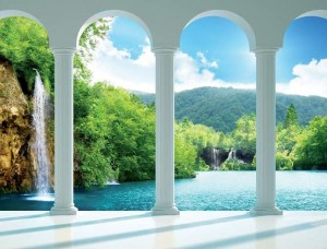 Tapet mural 3D cu vedere la un lac - 2353