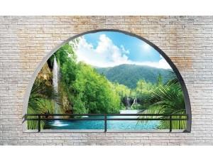 Tapet mural cu efect 3D vedere spre un râu de sub o boltă - 2837