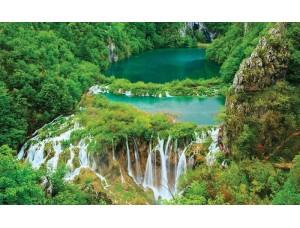 Fototapet cu lac în pădure tropicală şi o cascadă - 3601