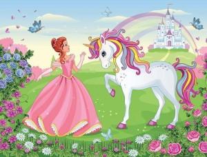 Tapet mural pentru copii, prinţesa şi unicornul - 13238