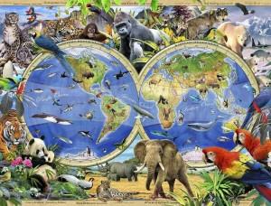 Tapet mural pentru camera copiilor, harta lumii cu animalele oceanelor - 12842