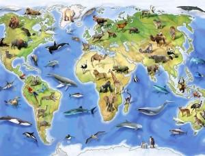 Tapet mural pentru camera copiilor, harta lumii cu animale - 12844