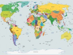 Tapet mural cu harta politică a lumii - 2644