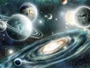 Tapet mural cu galaxii, planete şi calea lactee - 11896