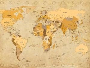 Tapet rustic cu harta politică a lumii - 3543